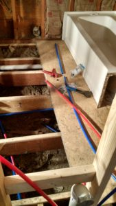 Pex waterlines for bathtub installation